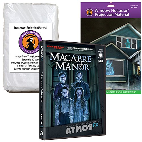 AtmosFEARfx Macabre Manor Halloween Digital Decoration DVD with Hollusion (W) + Reaper Bros Window Projection Screens by Kringle Bros