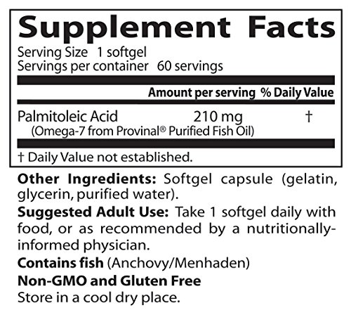 Doctor's Best Omega-7 Featuring Provinal, Non-GMO, Gluten Free, 210 mg, 60 Softgels