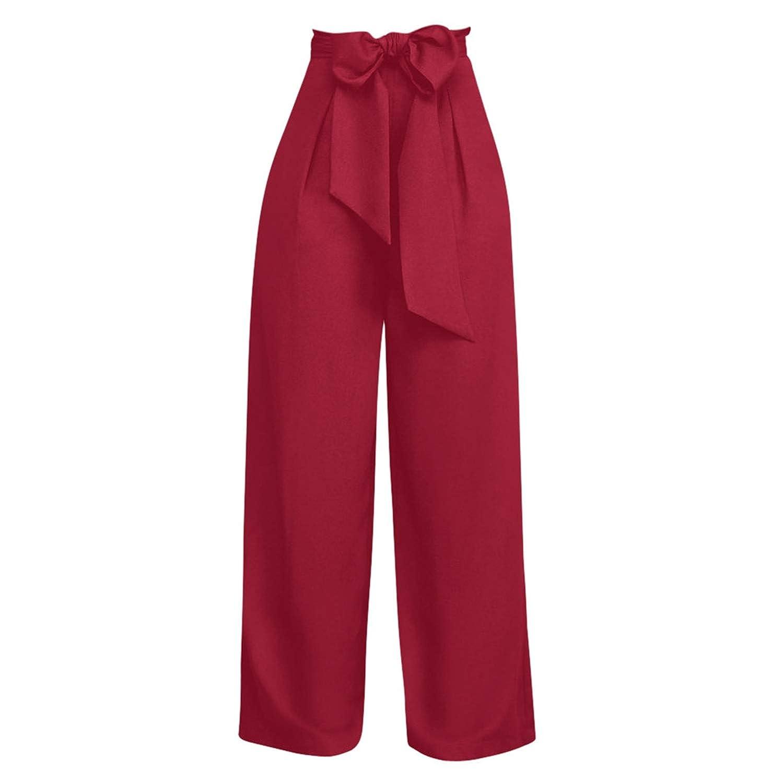 UE45EK Women Pants High Waist Drawstring Bow Wide Leg Trousers Loose Korean Style Women Office Pants Trousers Women,Navy,S,China