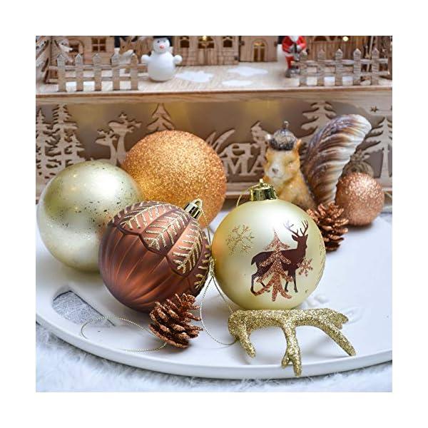 Valery Madelyn Palle di Natale 60 Pezzi di Palline di Natale, 3-5 cm di Rame del Bosco e Oro Infrangibile Ornamenti di Palla di Natale Decorazione per la Decorazione Dell'Albero di Natale 6 spesavip