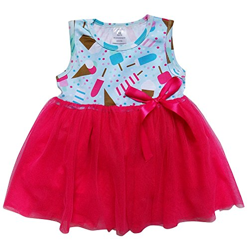 So Sydney Little Girls Tank Top Style Chiffon Tulle Princess Dress Tutu Sundress (L (5), Ice Cream Treat Pink)