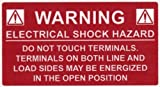 HellermannTyton 596-00233 Pre-Printed Solar Label, 3.75'' X 2.0'', WARNING: ELECTRICAL SHOCK HAZARD W/DC, Red (Pack of 50)