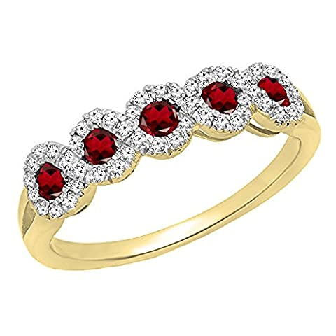 10K Yellow Gold Round White Diamond & Garnet Wedding Stackable Band (Size 7) (Garnet Rings Clearance)