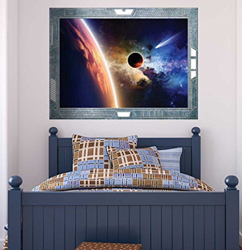 Science Fiction ViewPort Decal Capturing the Edge of the Earth Wall Mural