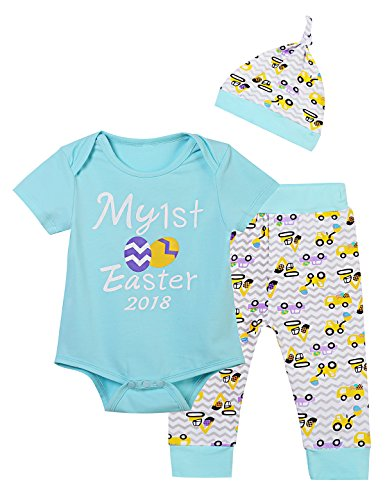 Truly One My First Easter Gift Baby Boys' Eggs Printed Bodysuit Pants With Hat (0-3 Months)