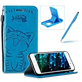 Strap Leather Case for iPhone 8,Blue Wallet Flip Case for iPhone 7,Herzzer Elegant Classic Solid Color Magnetic Closure Cute Fish Cat Printed Stand Shockproof Card Slots Folio PU Leather Back Case with Soft Silicone