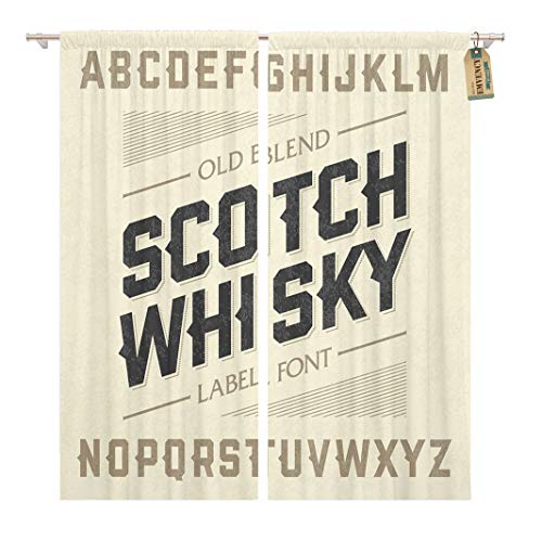 Golee Window Curtain Western Scotch Whiskey Label Alphabet Beer Old Bar Whisky Home Decor Rod Pocket Drapes 2 Panels Curtain 104 x 96 inches ()