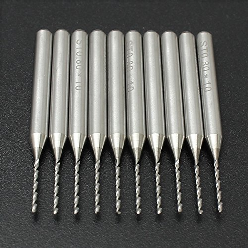 10pcs 0.8mm PCB End Mill Engraving Bits 3.175mm Shank Cemented Carbide CNC Cutting Drills