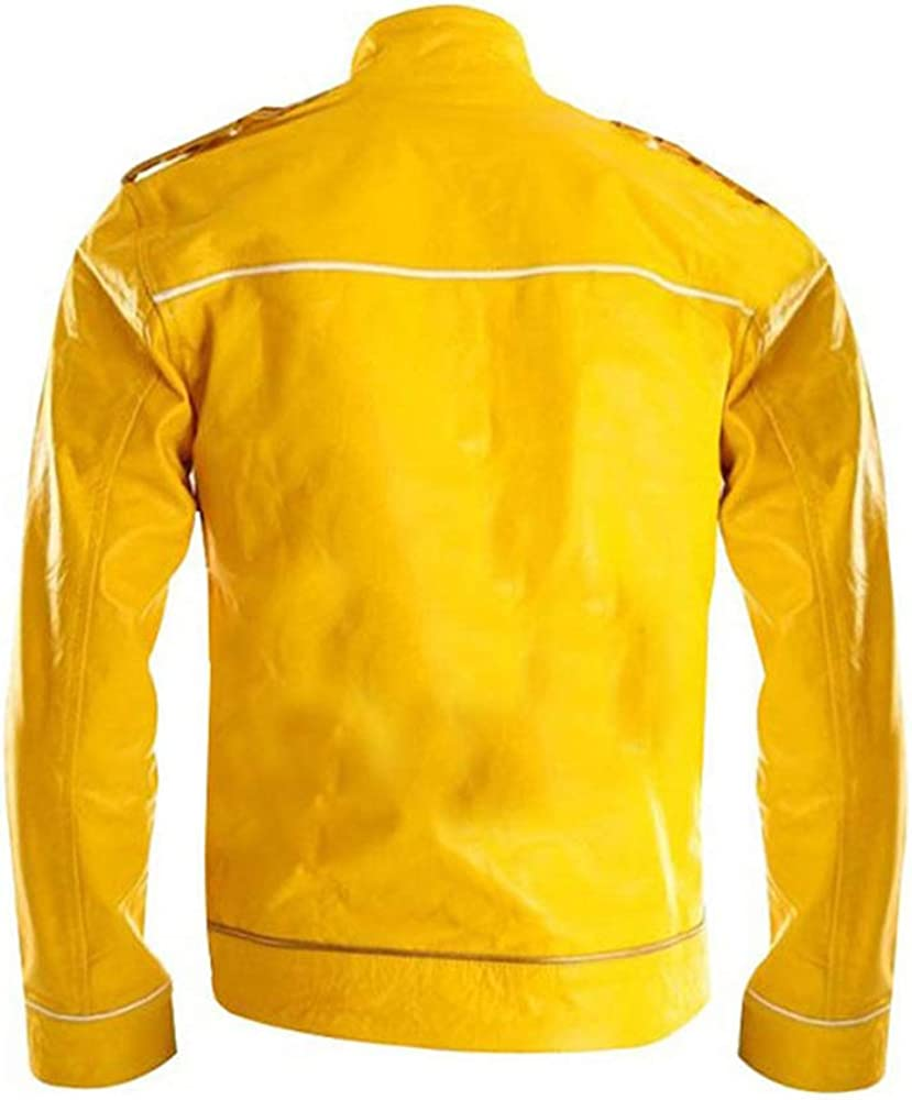 Mens Freddie Mercury Wembley Concert Military Strap Queen Yellow Biker Leather Jacket