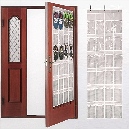 Hanging Shoe Holder (Aotuno Over the Door Shoe Organizer - 24 Reinforced Pockets(gray).)