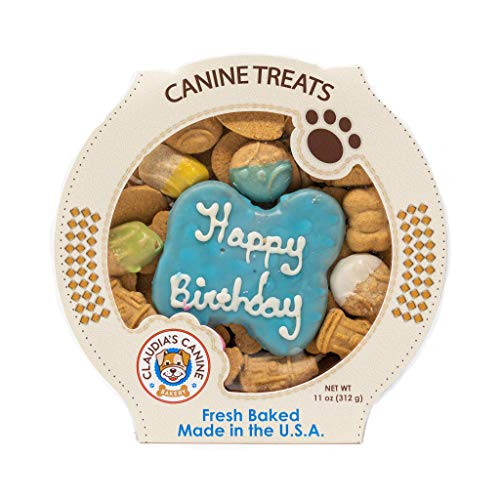 - Claudias Canine Bakery | Peanut Butter Flavor, Gourmet Dog Treats | No Preservatives, No Animal by-Products, No Fillers | Made in The USA | Net Wt. 11 oz | Happy Birthday Blue Assortment