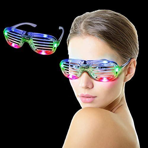 Fun Central I460 LED Light Up Slotted Shades - - Glowing Sunglasses