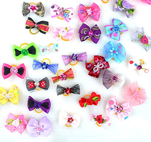 Lily Rhinestone (LILYS PET Dog Hair Bows Rubber Bands Rhinestone Pearls Dog Bows Pet Dog Grooming Bows Dog Hair Accessories)