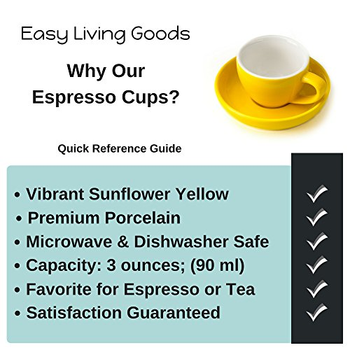 Espresso Cup and Saucer - (1 PC Set) 3-Ounce Demitasse for Coffee, Vibrant Color Choices, Durable Porcelain (Sunflower Yellow) by Easy Living Goods (Image #1)