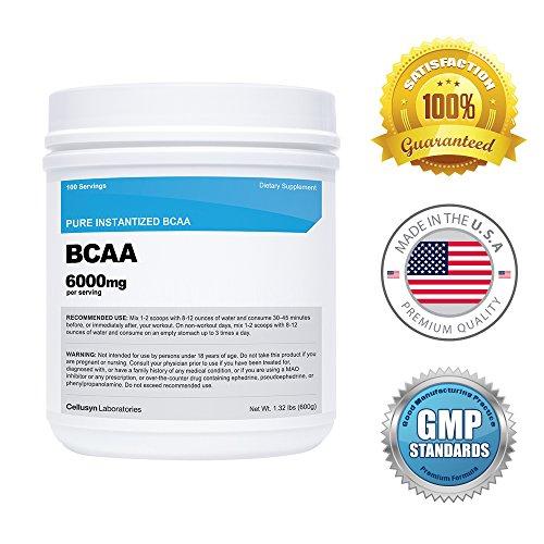 Cellusyn-Nutricost BCAA en poudre (100 Serv) - 600 grammes, Unflavored - 6000mg par portion - 2:1:1 Ratio ! -Qualité - chaîne ramifiée aminoacide - renforcer les Muscles, gagnent en force, réduire l'excès de graisse corporelle