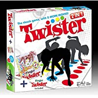 AdiChai Multi Coloured Board Game with Twister 2 in 1 Game and Cool Mat for Kids - Plus Finger Twister Included