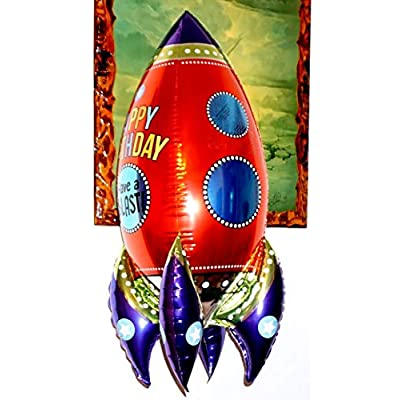 Fantastic Floatables Anti-Gravity Hovering Flying Floating HAPPY BIRTHDAY ROCKET 36 inch Toy Pet Balloon Party Favor: Toys & Games