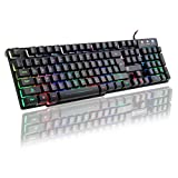 TNI Rainbow Backlit Gaming Keyboard with 4 Colors Rainbow LED 19 Keys no Conflict Multimedia Control Keys Mechanical Feel Waterproof (2016) For Sale