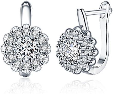 LAMDO Elegant 18K Gold Plated Small Huggie Hoop Crystal Flower Earring Cubic Zirconia Stud Earrings for Women Teen Girls