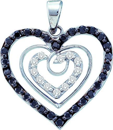 Or blanc 14 carats) 0.62 Dwt-Diamant-Pendentif Coeur-JewelryWeb