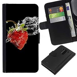 KingStore / Leather Etui en cuir / LG G3 / Frutas Macro Wet Strawberry