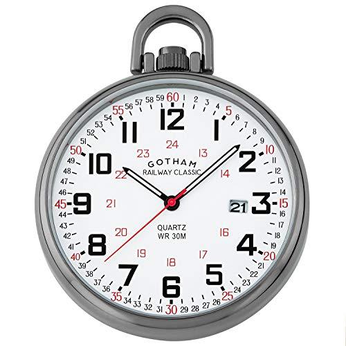 Crystal Stainless Steel Pocket Watch - Gotham Men's Gun-Plated Stainless Steel Analog Quartz Date Railroad Style Pocket Watch # GWC14107B