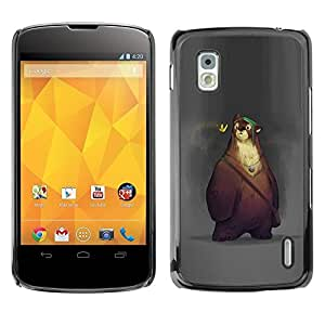 Design for Girls Plastic Cover Case FOR LG Nexus 4 E960 Bear Cute Cartoon Spring Animal Kids OBBA