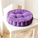 Uther Round Cushion Pad Seat Chair Patio Home Car Office Corduroy Dining Chair Pads Purple 15'' x 15''