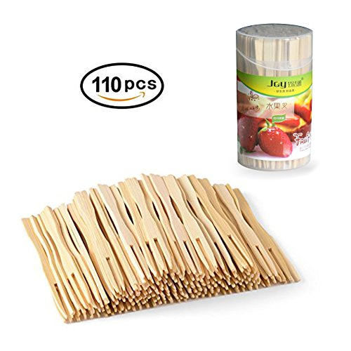 Bamboo Forks 3.5 Inch, Mini Food Picks for Party, Banquet, Buffet, Catering, and Daily Life. Two Prongs - Blunt End Toothpicks for Appetizer, Cocktail, Fruit, Pastry, Dessert. (110 (Black Pastry Fork)
