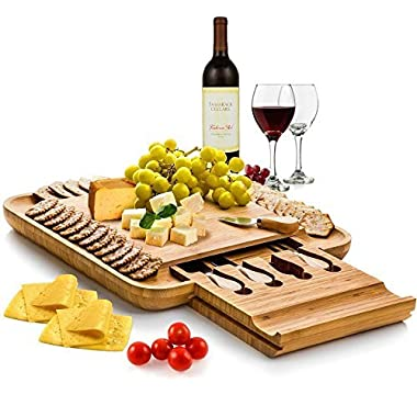 Bamboo Cheese Board with Cutlery Set, Wooden Charcuterie Platter and Serving Meat Board with Slide-Out Drawer with 4 Stainless Steel Knife and Server Set - Perfect Gift Idea