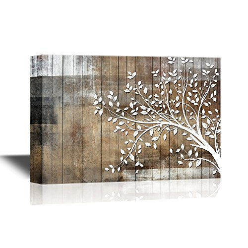 wall26 - Abstract Tree Canvas Wall Art - White Tree Branch with Leaves on Wood Style Background - Gallery Wrap Modern Home Decor | Ready to Hang - 32x48 inches (Wood Decor Tree Wall Branch)