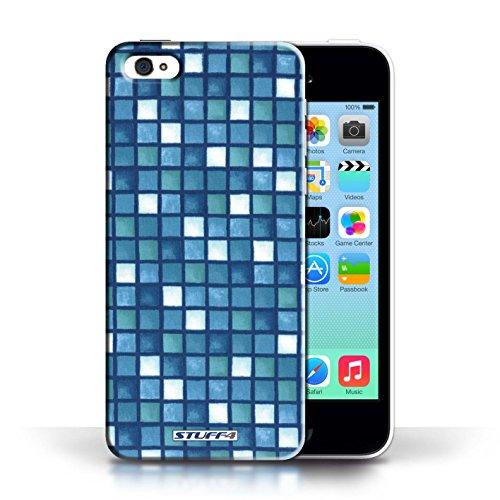 Etui / Coque pour Apple iPhone 5C / Bleu/Blanc conception / Collection de Carreau Bain