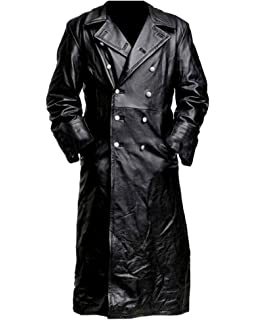 III-Fashions German Classic Officer WW2 Military Uniform Trench Black Leather Coat