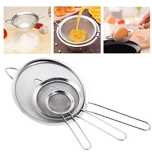 NEWBEA Fine Mesh Colander Stainless Steel Strainers Set of 3 High Quality Food Strainer & Sieve with Handle Colanders and Sifters for Kitchen, Tea, Rice & Juice Use