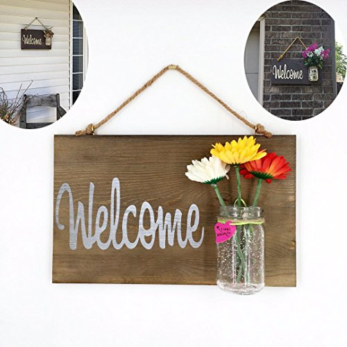Yonor Rustic Wood Home Front Door Welcome Sign, Home Sweet Home Sign, Housewarming Gift, Hand Painted Home Decor Sign, Rustic Front Door Decorations Welcome Sign (Welcome, Walnut)