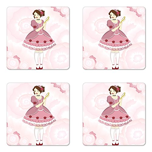 Victorian Rose Mirror - Lunarable Vintage Coaster Set of Four, Girl in a Victorian Dress Holding a Mirror on Pastel Colored Background with Roses, Square Hardboard Gloss Coasters for Drinks, Multicolor