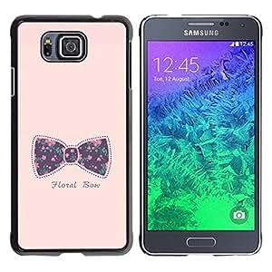 Bowtie Bow Pink Texto floral púrpura del bebé- Metal de aluminio y de plástico duro Caja del teléfono - Negro - Samsung ALPHA G850
