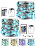 BOHON LED Fairy Lights Battery Operated 2 Pack Multi Color Changing String Lights with Remote, 16 ft 50 LEDs Decorative Siler Wire Lights for Bedroom Wedding Party Indoor Party(RGB)