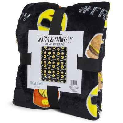 Emoji Faces Black Hamburger Fries Velvet Throw Blanket Bonus Emoji Lip Balm Kids Plush Soft Toy Toddlers Teens Emojies 50 x 60