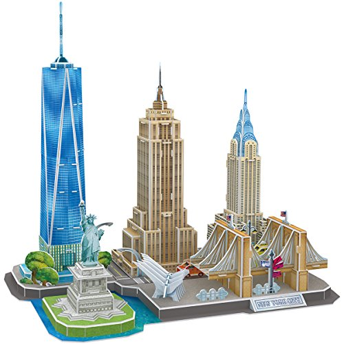 CubicFun New York City Skyline 3D Model Kits Puzzle Craft Toys Gift,123 Pieces MC255h-0