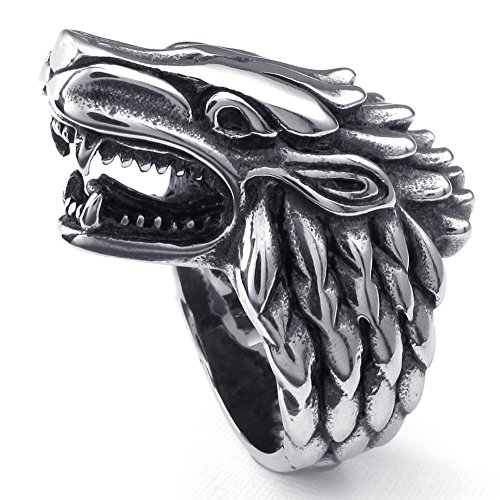 TEMEGO Jewelry Mens Stainless Steel Ring, Vintage Gothic Wolf Head Band, Black Silver - Wolf Head Ring