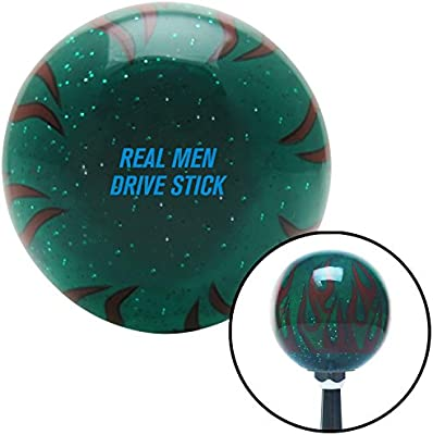 Blue 6 Speed Shift Pattern - 6RUL American Shifter 260434 Green Flame Metal Flake Shift Knob with M16 x 1.5 Insert
