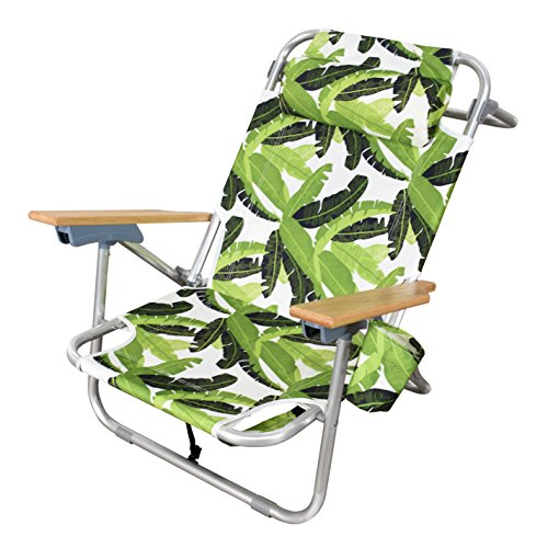 Astella 4 Position Lay Flat Aluminum Beach Chair, Green Banana Leaf (Lounge Chair Banana)