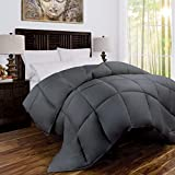 Alternative Comforter - Zen Bamboo Luxury Goose Down Alternative Comforter - All Season Hotel Quality Hypoallergenic Duvet Insert with Cooling Bamboo Blend Fabric - Full/Queen - Gray