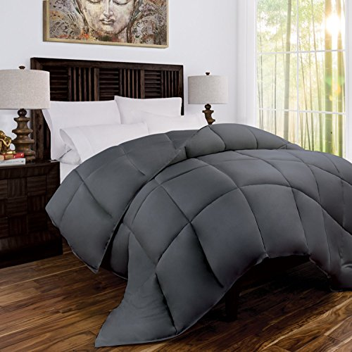 Zen Bamboo Luxury Goose Down Alternative Comforter - All Season Hotel Quality Hypoallergenic Duvet Insert with Cooling Bamboo Blend Fabric - King/Cal King - Gray