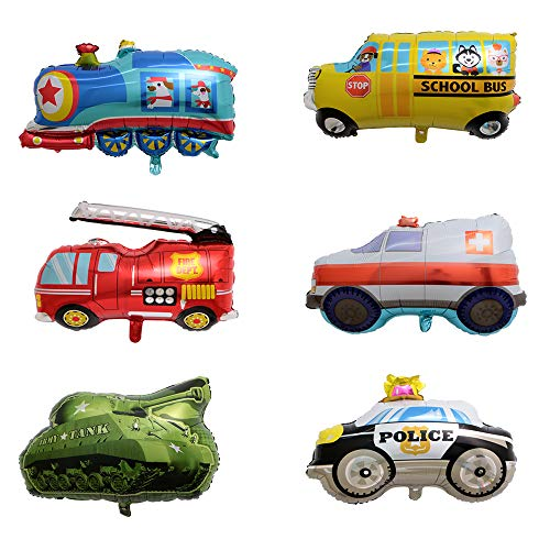 BALONAR 6PCS Train Ambulance Police Car School Bus Fire Truck Tank Foil Balloons Vehicles Balloons for Child Birthday Party Supplies Cute Baby Shower Decorations
