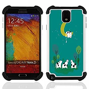 - Moon Cow Sleeping - - Fulland Deluxe Hybrid TUFF Rugged Shockproof Rubber + Hard Case Cover FOR Samsung Galaxy Note 3 III N9000 N9008V N9009 Queen Pattern