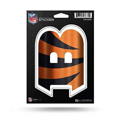 Rico Industries NFL Cincinnati Bengals Die Cut Metallic StickerDie Cut Metallic Sticker, Orange, 5.75 x 7.75-inches
