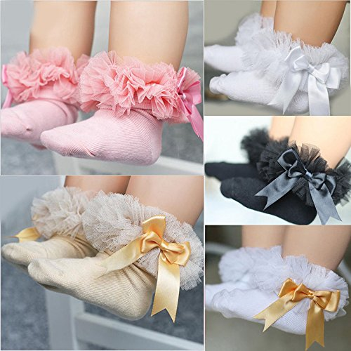 ONE'S Newborn Infant Baby Toddler Girls Princess Bowknot Lace Ruffle Frilly Trim Ankle Sock (0-2 Years, Black) by ONE'S (Image #3)