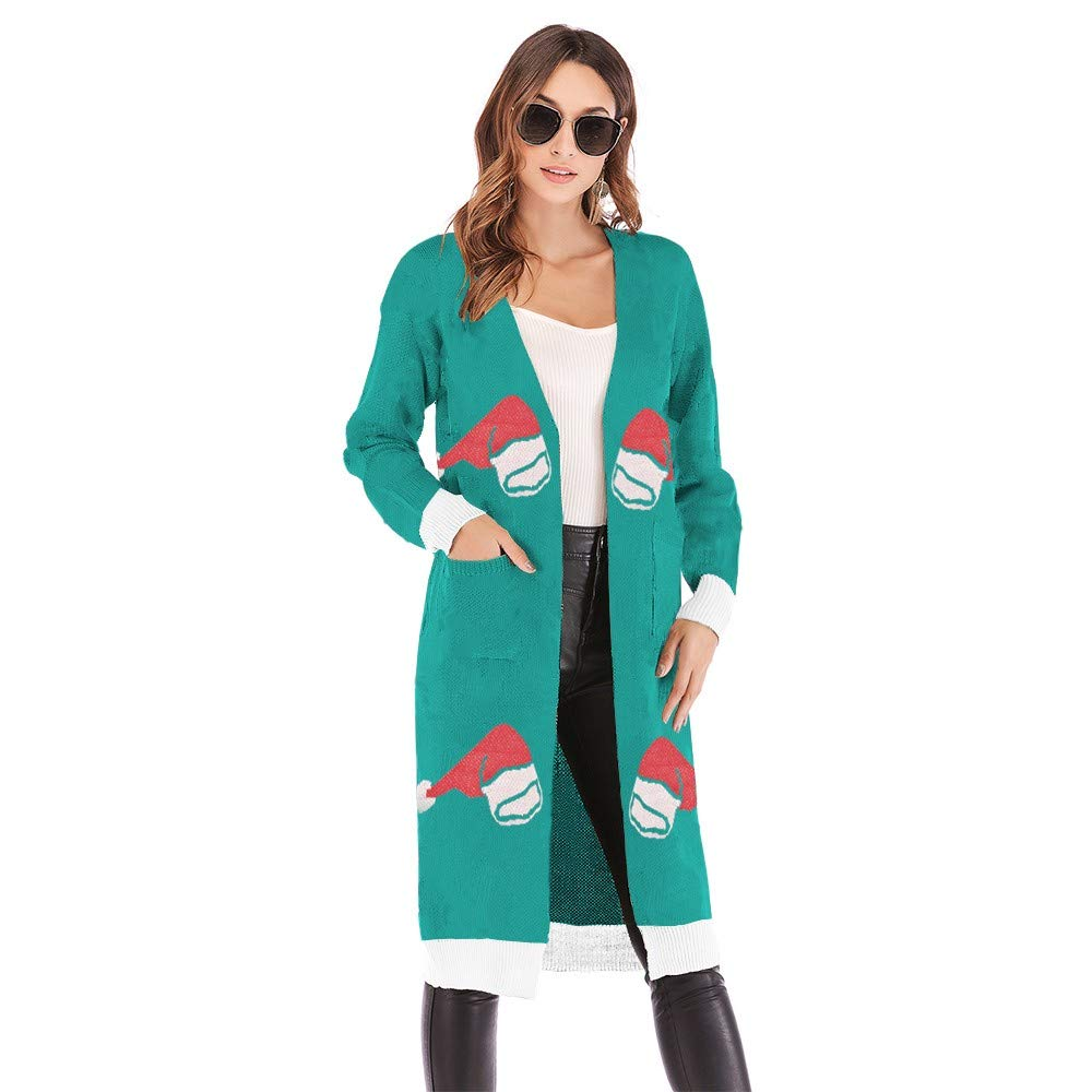 BB67 Womens Knitted Cardigan Christmas Hat Print Long Sleeve Sweater Coat (XL) by BB67